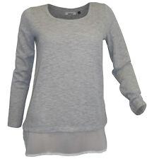 ONLY Layer Pullover  Gr. XS 32 34 hellgrau meliert weiß Bluseneinsatz