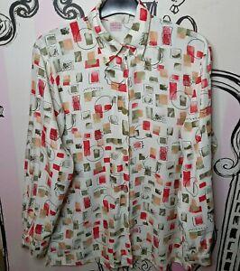 Size 16 Chris Sporttiv White w Bright Pattern Long Sleeve Light Blouse Shirt