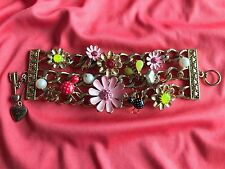 Betsey Johnson Vintage Garden Case Pink Flower Bee Polka Dot Red Spider Bracelet