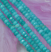 "Fine! 4x6mm Faceted Blue Brazilian Aquamarine Gems Abacus Loose Beads 15"" Strand"