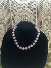 "Beautiful 17"" 14mm Round Rose Quartz Bead Gemstone Necklace Sterling Clasp"