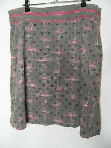 WHITE STUFF A-Line Skirt Size 10 Olive Needlecord Embroidered Cotton