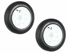 Two Trailer Tires On Rims 4.80-12 480-12 4.80 X 12 LRB 5Lug Wheel White Spoke