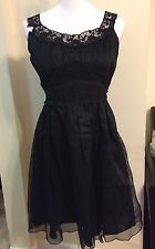Anna Sui Anthropologie Black Mesh Lace Sleeveless Ruffle Belted Romantic Dress 8