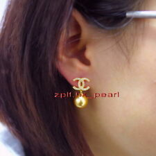 Top 11-12MM NATURAL real round SOUTH SEA yellow golden PEARL EARRINGS 14K GOLD