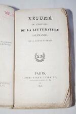 RESUME DE L'HISTOIRE DE LA LITTERATURE ALLEMANDE LOEVE VEIMARS 1826