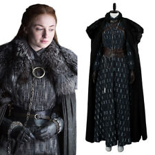 Game of Thrones S8 Sansa Stark Cosplay Costume Dress Suit Cape Halloween Outfit