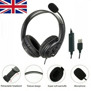 USB Headset Noise Canceling with Microphone For Skype Laptop PC Call Computer UK