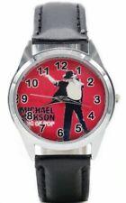 Michael Jackson King of Pop Black Leather Band Wrist Watch