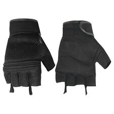 Mens Womens Mesh Leather Summer Fingerless Black Motorcycle Riding Gloves