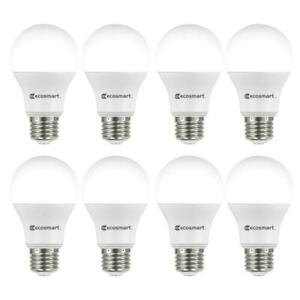 ECOSMART 60 Watt A19 LED Light Bulb Indoor Household Lighting Lamp Daylight 8 PC