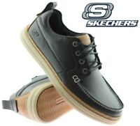 Mens Skechers Leather Wide Fit Lace Up Memory Foam Walking Trainers Shoes Size