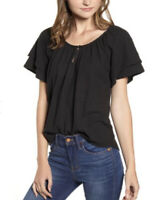 New Madewell Texture & And Thread L Tiered Sleeve Top Shirt Cotton Black NWT