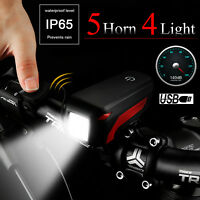 USB Rechargeable T6 LED Bicycle Bike Front Head Light Headlight Lamp +140dB Horn