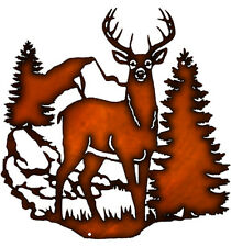 Vintage Style Metal Sign Deer In Forest Wall D?cor Faux Copper Finish 14x14.5