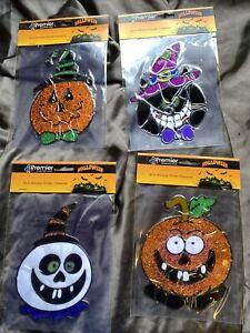 4  x 18cm Premier Gel Window Stickers Halloween Characters Decorations  - 1093