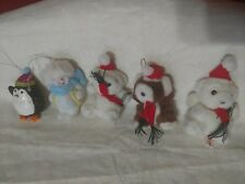 5 Vtg Xmas OrnamentsTeddy Bears Penguin Snowman Gift Attachments Tie-Ons