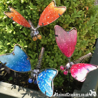 Set 3 colourful Dragonflies on stakes garden decoration Dragonfly lover gift