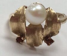 Vintage 14K Yellow Gold 6mm Pearl and Amber Ring Size 7.5 Beauty!!