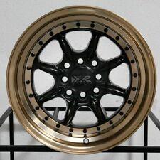 """4-New 16"""" XXR 002.5 Wheels 16x8 4x100/4x114.3 0 Flat Black Bronze Lip Rims"""