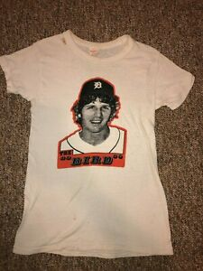 """Vintage Detroit Tigers Mark """"The Bird"""" Fidrych 1976 t-shirt Adult small child L"""