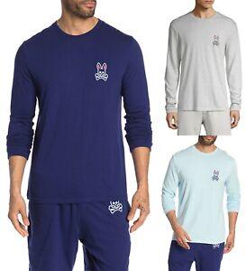 Psycho Bunny Men's Big Bunny Logo Applique Crew-Neck Long Sleeve T-Shirt
