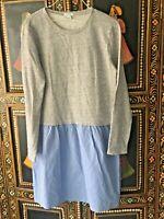J Crew Sweatshirt Dress Gray Blue Drop Waist Sz S EUC
