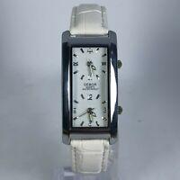 Debor Womens White Band Dual Time Dial Quartz Analog Wristwatch
