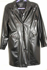 Womens Black Vinyl (PVC) Long Black Button Up Jacket Sz Lg (10-12) *EUC*