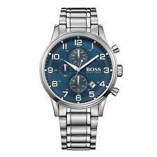 HUGO BOSS Uhr 1513183 Aeroliner Herren Chronograph Edelstahl Silber Armbanduhr