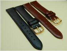 GENTS GENUINE LEATHER CALF GRAIN WATCH STRAP BLACK,  BROWN, SIZES 18, 20, 22 mm