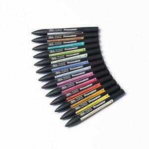 W&N ProMarker Set 2 12 colors pens 2 nibs draw graphic student art craft design
