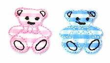 2X SML TEDDY BEARS PINK BLUE Embroidered Sew Iron On Cloth Patch Badge APPLIQUE