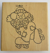 Roller Skating Clown Rubber Stamp Bow Tie Beanie Hat Large Crafts Circus