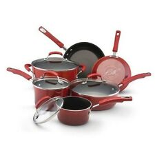 NEW (10 Piece) Red Rachael Ray Porcelain Enamel Nonstick Cookware Set Gradient