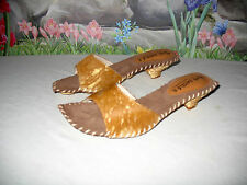 New PALOMA BARCELO Brown Calf & Gold Leather Sandals 8 / EU 38
