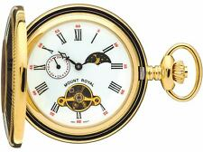 Squelette Montre de poche plaqué or demi Hunter avec Lune Phases - 17 Jewel-box