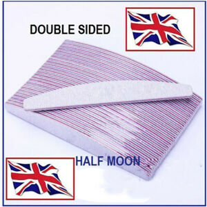10PCS Professional Quality Nail Files 100/180 Grit Double Sided Half Moon Buffer