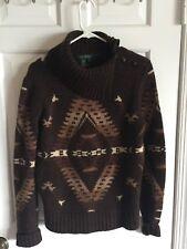 Vintage RALPH LAUREN Indian Navajo Rustic Blanket Wool Western Sweater Brown M