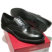 FERRAGAMO Black Wingtip Leather Oxford Men's 13 D 46 Dress Fashion Casual Shoes