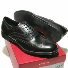 FERRAGAMO Black Wingtip Leather Oxford Men's 11 D 44 Dress Fashion Casual Shoes