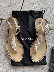 Chanel Sandalen Schuhe 40C Perlmutt