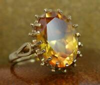 Large Citrine & 9ct Gold Solitaire Cocktail Ring f0484