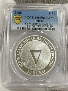 IRELAND IRISH TEN EURO SILVER PROOF COIN.2005. W.R HAMILTON. PCGS PR69DCAM LOC5