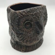 More details for rare bernard bloch tobacco jar owl  c.1900 victorian terracotta copper glaze