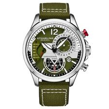 Stuhrling 908 03 Aviator Quartz Chronograph Date Green Leather Mens Watch