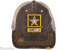 ARMY LOGO DISTRESSED MESH MILITARY TRUCKER  HAT CAP