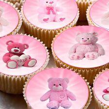 24 WAFER Commestibile Cupcake Fata Torta Topper Decorazioni Rosa Orsacchiotti Picnic