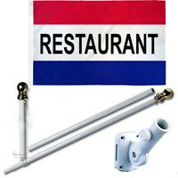 Restaurant 3 x 5 FT Flag + 6 Ft Spinning Tangle Free Pole + Bracket