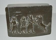 Old Metal Pewter topped box with African / Syrian Hunt scene .